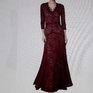 Vintage floral lace formal evening party maxi dres